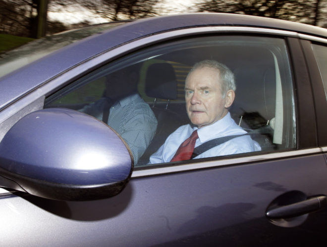 ASSOCIATED PRESS Former deputy Northern Ireland First Minister Martin McGuinness arrives at Stormont, Belfast, Northern Ireland, on Monday.
