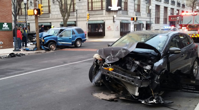 PHILIP A. HOLMES/Sun-Gazettte Hershey Marks, 42, of the city, the driver of the Chevy Blazer at left, and Zoe Oldt, 61, of Mifflinburg, the driver of the car at right, were treated at the UPMC Susquehanna Williamsport Regional Medical Center for injuries they suffered when the vehicles collided at West Fourth and William streets about 8 a.m. Monday, city police said. City firefighters also responded to the crash.