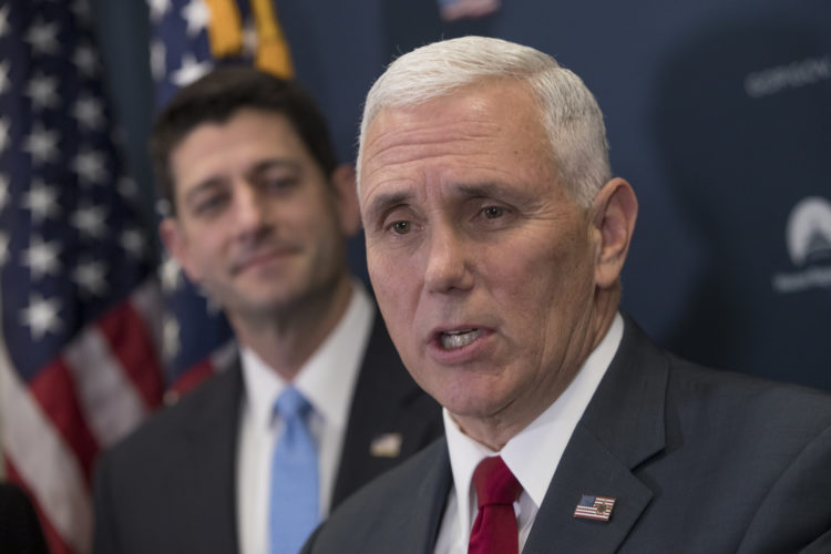 ASSOCIATED PRESS Vice President Mike Pence, joined at left by Speaker of the House Paul Ryan, R-Wis., faces reporters at a news conference following a closed-door meeting with the GOP caucus at the Capitol in Washington on Jan. 4.