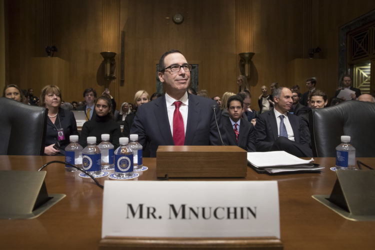ASSOCIATED PRESS Treasury Secretary-designate Steven Mnuchin arrives on Capitol Hill in Washington on Thursday to testify at his confirmation hearing before the Senate Finance Committee.