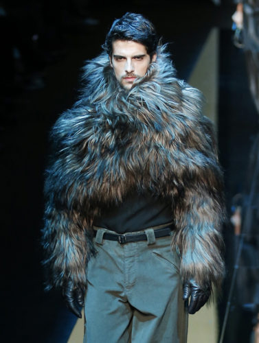 A model wears a creation for Giorgio Armani men's Fall-Winter 2017-2018 collection, part of the Milan Fashion Week, unveiled in Milan, Italy,