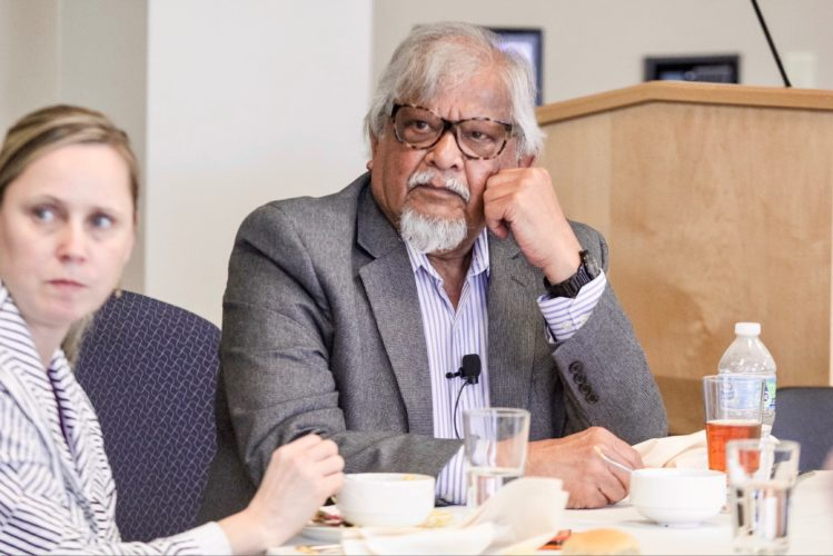KAREN VIBERT-KENNEDY/Sun-Gazette Arun Gandhi, grandson of Indian independence leader Mohandas Gandhi, more commonly known as Mahatma Gandhi, answers questions during a luncheon at Bucknell University in Lewisburg on Thursday.