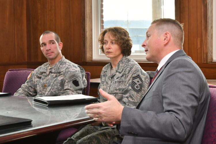 MARK NANCE/Sun-Gazette Project Bald Eagle has entered into a partnership with the PA National Guard Counterdrug Joint Task Force to pool their resources to combat opiod addiction. From left are Maj. Max Furman and Senior Master Sgt. Nancy Stoltzful of the task force, and Steven Shope, executive director of Project Bald Eagle.