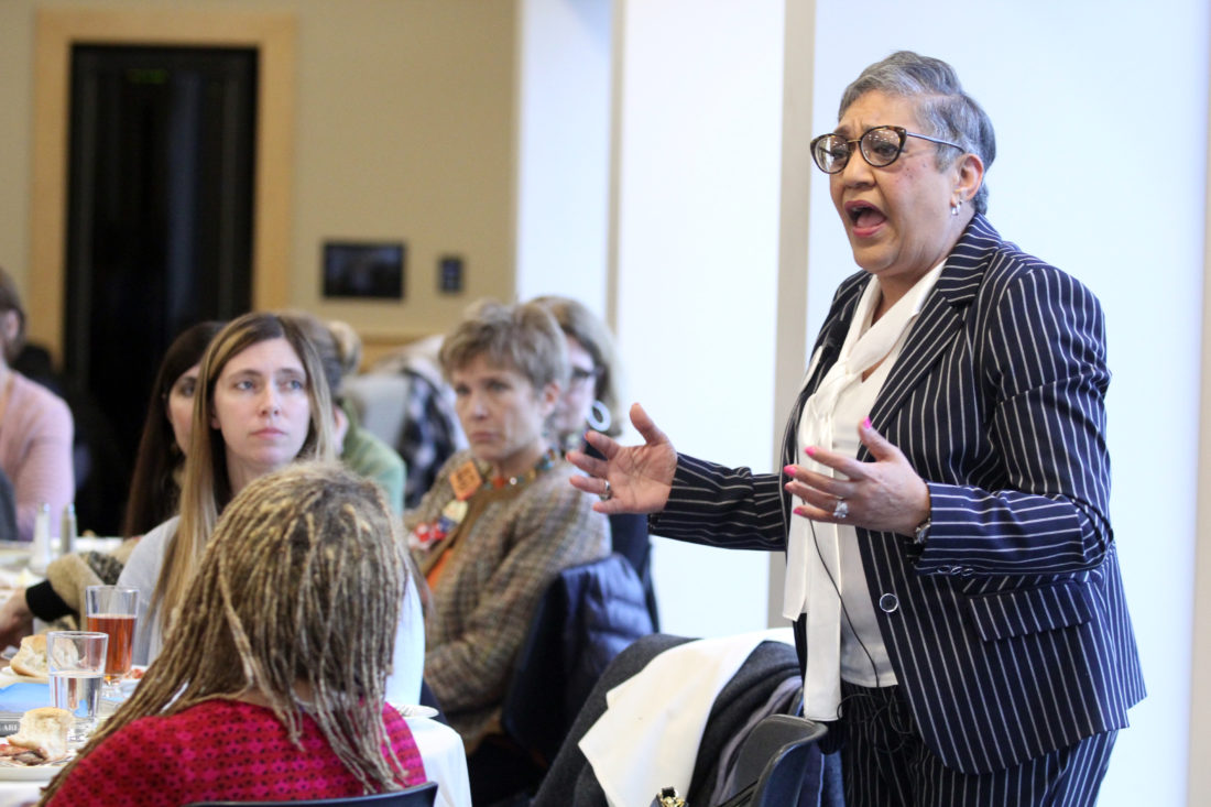 KAREN VIBERT-KENNEDY Sun-Gazette The Rev. Sharon Washington Risher, whose mother Ethel Lee Lance was one of the victims of the Charleston Church shooting, speaks Tuesday at a luncheon at Bucknell University.