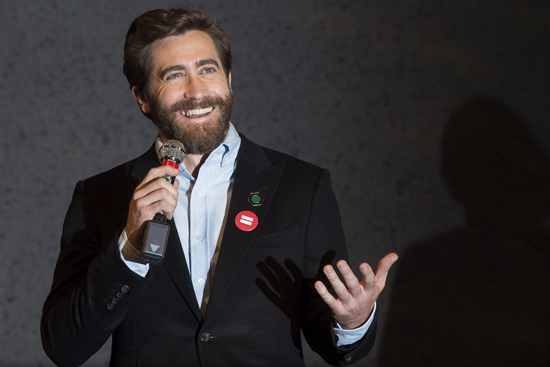 """Jake Gyllenhaal participates in Broadway's """"Sunday in the Park with George"""" media day and Hudson Theatre grand re-opening ceremony on Wednesday, Feb. 8, 2017, in New York. (Photo by Charles Sykes/Invision/AP)"""