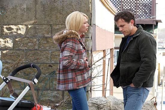 "FILE - This image released by Roadside Attractions and Amazon Studios shows Michelle Williams, left, and Casey Affleck in a scene from ""Manchester By The Sea."" The film has been nominated for an Oscar for the best picture and best directing categories. Movie fans can watch a variety of Oscar-nominated flicks online from their couches for a fee. The films ÒArrivalÓ and ÒHell or High WaterÓ can be rented through Amazon, Google Play or AppleÕs iTunes, but viewers will have to buy downloads of ÒHacksaw Ridge,Ó ÒManchester by the SeaÓ and ÒMoonlight.Ó  (Claire Folger/Roadside Attractions and Amazon Studios via AP, File)"