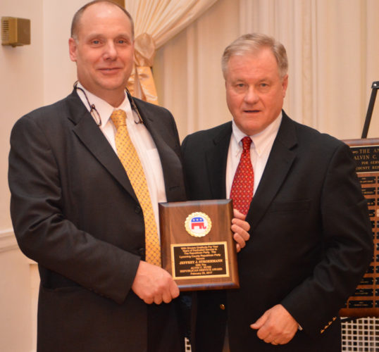 PAT CROSSLEY/Sun-Gazette Correspondent Jeffrey Stroehmann, left, was awarded the Alvin C. Bush Republican Service Award for his commitment to the  Republican Party in Lycoming County during the annual Lincoln Day Dinner Saturday night at the Genetti Hotel. With him is state Sen. Scott Wagner, R-Spring Garden Township, who has announced his candidacy for state governor in 2018.