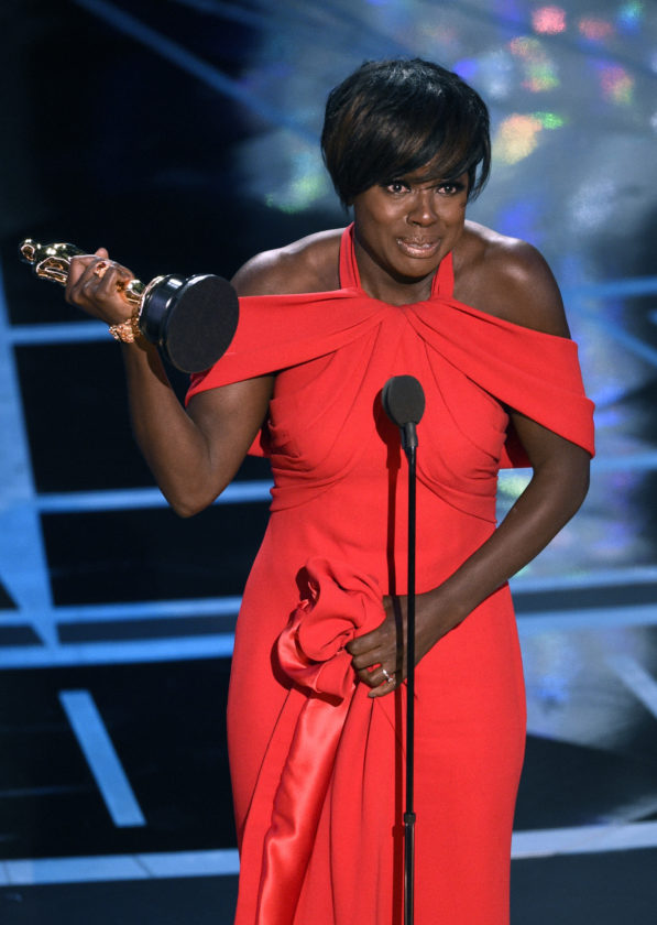 "ASSOCIATED PRESS Viola Davis accepts the award for best actress in a supporting role for ""Fences"" at the Oscars on Sunday."