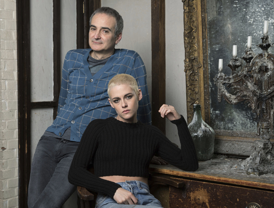 """Kristen Stewart, right, and writer-director Olivier Assayas pose for a portrait to promote their film, """"Personal Shopper,"""" on Thursday, March 9, 2017, in New York. (Photo by Amy Sussman/Invision/AP)"""