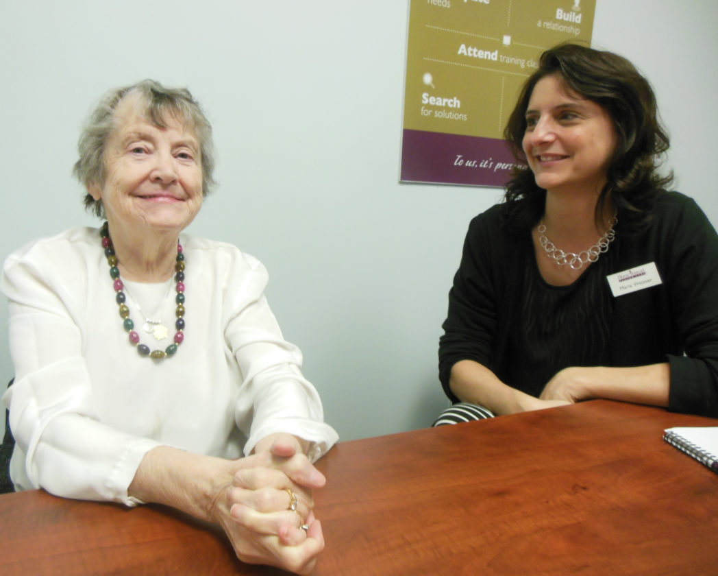 MIKE REUTHER/Sun-Gazette Mary Lou Rueve, left, received help with the care of her sister, who has Alzheimer's disease. A group made it possible for the care to be given by Home Instead Serior Care in Williamsport. At right is Maria Weisser, home care consultant.