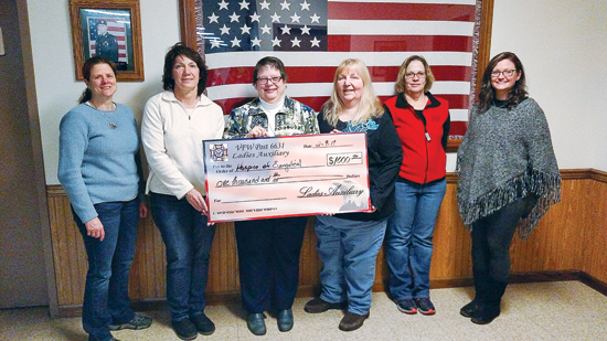 PHOTO PROVIDED Shown from left are Jamie Heintzelman and Ginger Griffith, of the VFW; Kay Holdren, director, Hospice of Evangelical; Tina Burgess, hospice volunteer; June Brosious and Kristine Horten, of the VFW.