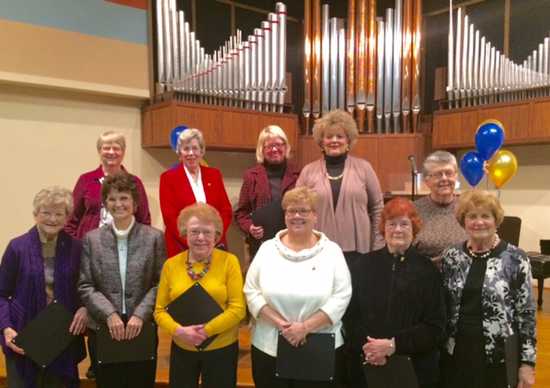 PHOTO PROVIDED Past presidents of the Williamsport Music Club in attendance at Founders Day. Back row, left to right: Lucy Henry, Kay Huffman, Dorothy Maples, Suzanne Fedele, Carol Waltz. Front row, left to right: Barby Smith, Bonnie Horn, Nancy Lady, Leatha Kieser, Jane Landon, Doris Teufel.