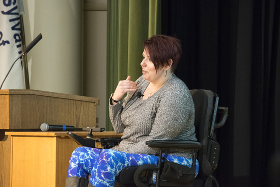 PHOTO PROVIDED High school juniors with disabilities hear from keynoter Melissa A. Wilson, who is attending Lock Haven University for a master's in health care management with a goal of employment as a nursing home administrator.
