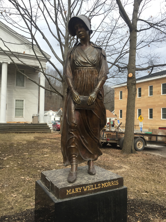 MEGAN E. BLOOM/Sun-Gazette Statue of Mary Wells Morris stands in Wellsboro in honor of the town co-founder.