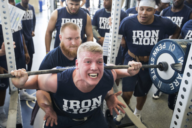 ASSOCIATED PRESS Defensive tackle Robert Windsor does squats during a recent Penn State football workout session.