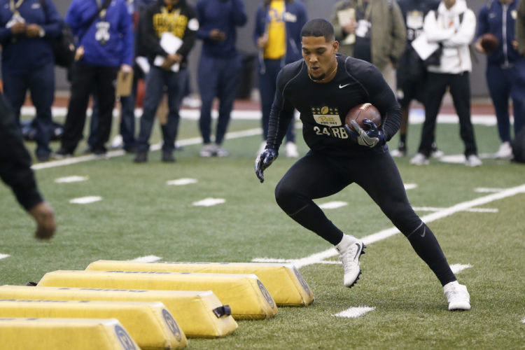 Running back James Conner participates in Pittsburgh's NFL football pro-timing day on Wednesday in Pittsburgh. (AP)