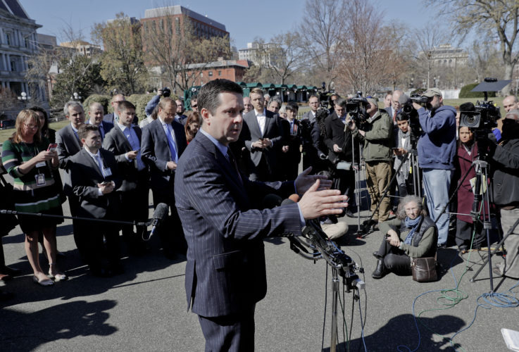 ASSOCIATED PRESS House Intelligence Committee Chairman Rep. Devin Nunes, R-Calif. speaks with reporters outside the White House on  Wednesday following a meeting with President Donald Trump.