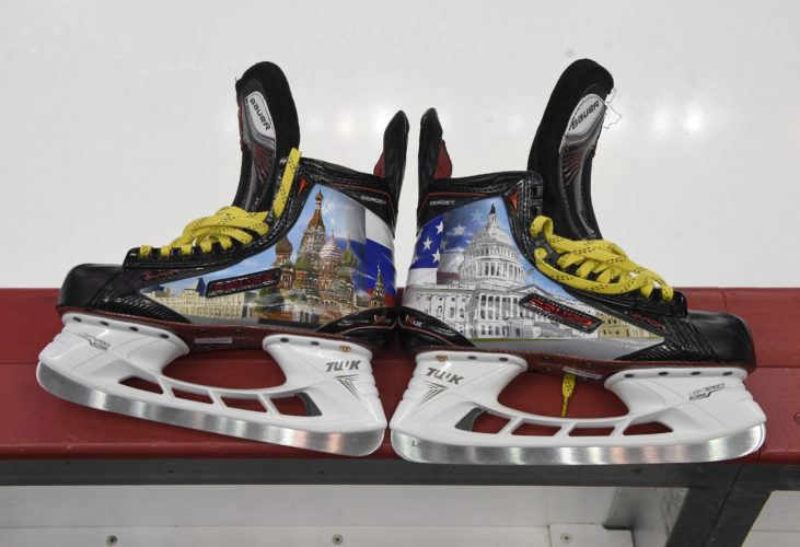 St. Basil's Cathedral and the U.S. Capitol adorn Alexei Ovechkin's custom skates, allowed only for warmups. (AP)