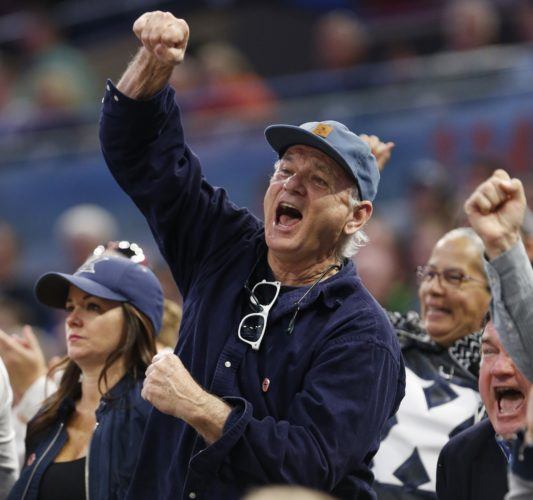 Bill Murray has been a fixture at Xavier games as his son, Luke, is an assistant coach. (AP)