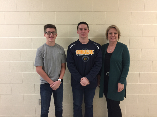PHOTO PROVIDED Shown is the team from Montoursville Area High School following the past week of the Stock Market Competition. From left are Wyatt Nettling, Daniel Rogers and Linda Keister, teacher.