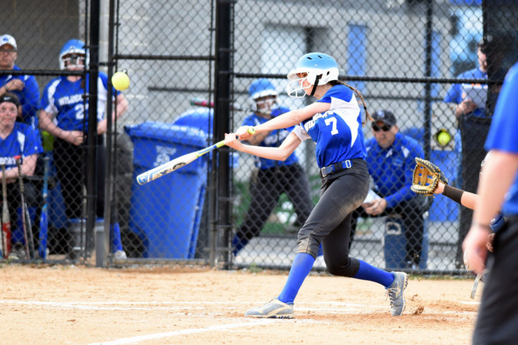 Central Mountain's Morgan Wetzel swings at a pitch against Midd-West at Central Mountain on Wednesday. Central Mountain won, 12-2. (TIMWEIGHT/For TheSun-Gazette)