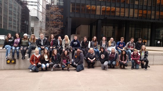 PHOTO PROVIDED Shown are Loyalsock Township students in front of the Seagram's Building in New York City during a field trip in March.