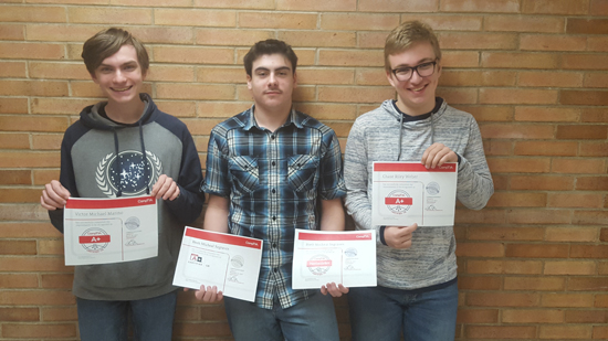 PHOTO PROVIDED Three Williamsport students recently earned CompTIA industry certifications. From left are Victor Marino, Brett Segraves and Chase Weber.