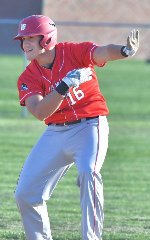 MARK NANCE/Sun-Gazette Ethen Stryker of Williamsport celebrates a seventh-inning hit Tuesday at Jersey Shore.