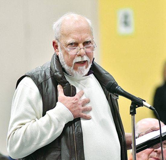 MARK NANCE/Sun-Gazette Kevin Lynn, of Harvey's Lake, adds his support for the Transco Compressor Station 520 during the state Department of Environmental Protection's public hearing on the proposed project. The hearing was held at Salladasburg Elementary School on Wednesday.