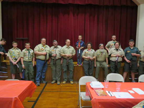 Boy Scouts  recently held their annual dinner and awards recognition ceremony. Shown are representatives from units attending the dinner are shown receiving their recognitions for Family Friends of Scouting (FOS).