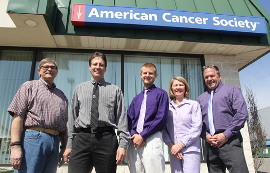 South Williamsport Mayor David Lechniak, Williamsport Mayor Gabe Campana, Kyle Hetner of Steinbacher, Goodall and Yurchak; Cindy Schuyler of Williamsport Area School District; and Thomas Bartholomew of Cochran Elementary at the American Cancer Society office in Williamsport on April 13, 2017. KAREN VIBERT-KENNEDY/Sun-Gazette
