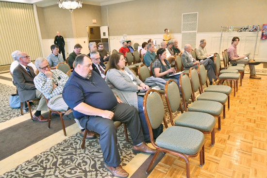 MARK NANCE/Sun-Gazette  Above, about twenty citizens turned out for a stop on the state Department of Environmental Protection Office of Environmental Justice listening tour at the Genetti Hotel Thursday.