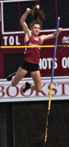 MARK NANCE/Sun-Gazette Hailey Zurich of Loyalsock clears the pole vault Friday at Jack Stadium in Lock Haven.