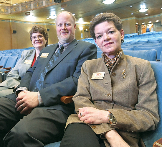 MARK NANCE/Sun-Gazette The Community Arts Center introduced its new executive directors during a meet and greet Tuesday. From left are Dana Beth Evans, general manager; Dave Whitnack, operations director; and Sharon Mack, managing director.