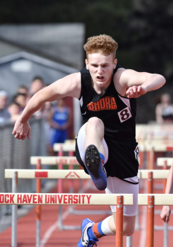 MARK NANCE/Sun-Gazette Austin Breon of Jersey Shore leads area Class AAA boys in both hurdles events so far this season.
