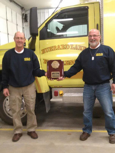 Courtesy Photo Hubbard Lake Fire Department members Al Ratz, left, and Daryl Kauffman, recently were honored with a plaque that acknowledges the vital part they played in helping to save the lives of five Air Force veterans whose plane crashed near Hubbard Lake 40 years ago. The five survivors had the plaque made in recognition of the heroism of Ratz and Kauffman.