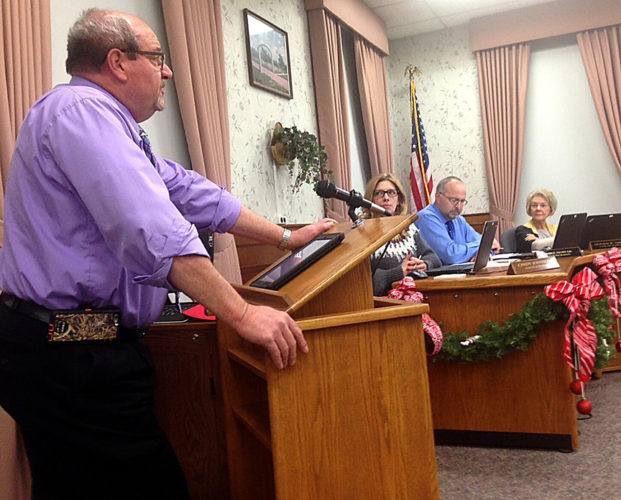 News Photo by Steve Schulwitz Alpena City Engineer Rich Sullenger makes a recommendation to Alpena Municipal Council to renew a three-year contract with L&N Disposal. The business will provide and empty dumpsters for the city. The council voted 5-0 to renew the contract.