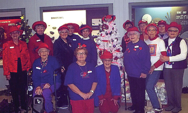 Courtesy Photo Members of the Sunnyside Red Toppers and the Hubbard Lake Red Hatters gathered recently at the Besser Museum for Northeast Michigan foto help decorate a Red Hat Christmas tree.