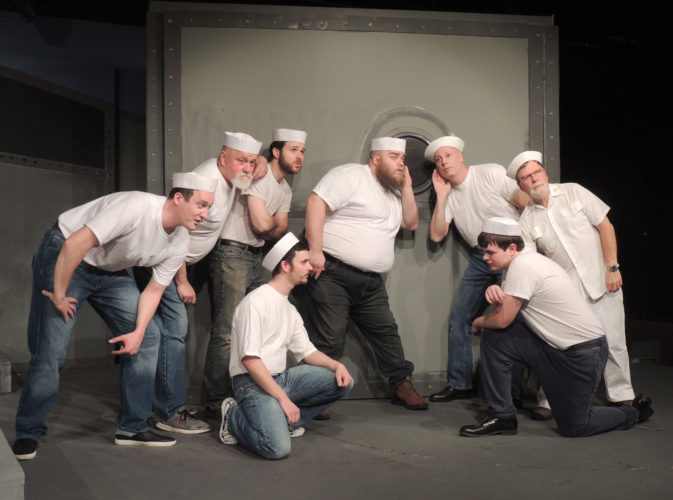 """News Photo by Diane Speer Among those appearing in Alpena Civic Theatre's first show of 2017 are, from left, Andrew MacNeill, Bob Stelik, Joe Rybarczyk, Nick Stone, Jacob Duggar, Curt Hampton, James Shultz and Eugene Bacon. """"Mister Roberts"""" opens next week."""