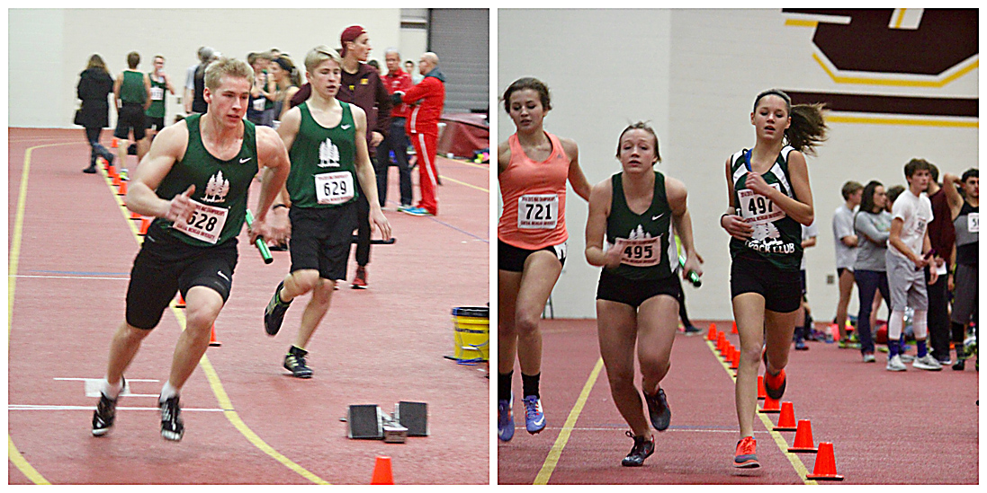 Courtesy Photo (L-R) Levi Goebel takes the baton from brother Kolton in the Boys 4X200 meter relay while Taylor Foster follows sister Tiffany in the Girls 4X200 meter relay at CMU.