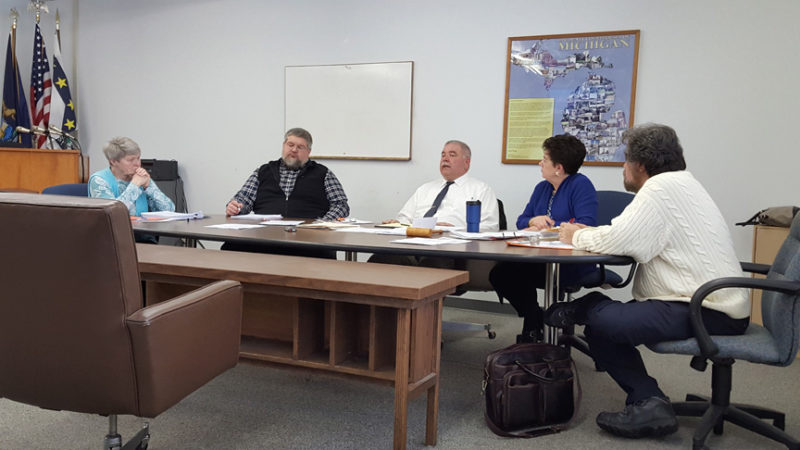 News Photo by Jason Ogden The Alcona County Board of Commissioners conducted a meeting Wednesday in a newly configured board room. The board table was arranged so the board could better face the public, according to Chairman Craig Johnston. Left to right, Commissioners Carolyn Brummund, Andy Brege, Johnston, Vice Chair Kathleen Vichunas and Commissioner Gary Wnuk.
