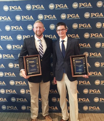 Courtesy Photo Former Alpena resident Ryan Szydlowski, left, Head Professional at Desert Willow Golf Resort was named the Golf Professional of the Year at the annual dinner on Dec. 20 at Cathedral Canyon Country Club in Cathedral City California, while former Grosse Ile resident Joe Kobrick of Desert Willow was named the Assistant Golf Professional of the Year. Szydlowski said one of the highlights of his career as head pro during the past six years at Desert Willow was helping apprentices become members and move on to professional and general manager positions in the PGA.  Ryan credited his mentor Gordy Carlson, former Club Pro of the Alpena Golf Club for encouraging his passion for golf. Ryan graduated from Alpena High School in 2005 and the Ferris State University Professional Golf Management program in 2009. Ryan lives in Palm Desert California with his wife Holly and newborn son Jackson.