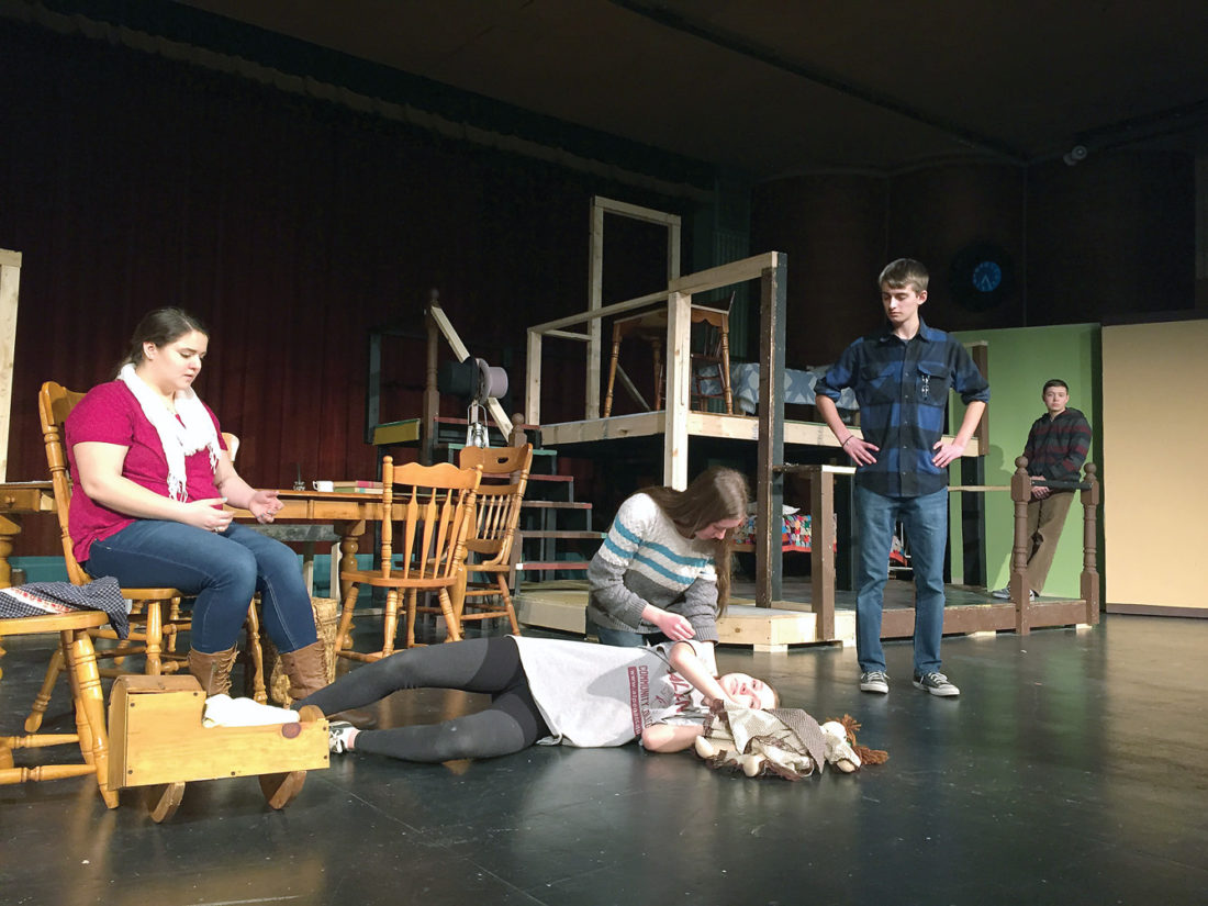 "News Photo by Julie Riddle Rehearsing a scene from Rogers City Community Theatre's production of ""The Miracle Worker"" are, from left, Ashley Nowicki, Emmalyn Riddle (kneeling), Abbey Mulka (on floor), Jacob Bruski and Bradley Heidemann. Also cast in the productioin are Daniel Bielas, Hannah Hentkowski, Mallory Ryan, Sophia Schiepek and Miranda Seiter."