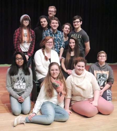 "News Photos by Diane Speer Appearing in ""Characters"" are, front row left, Olivia Gerhart and Emily Kania; second row, Jade Biddings, Rose Jasman, Miriam Denstaedt and Constance Fluharty; third row, Caitlynn Shadbolt, Josh Rasmussen, Jake Lanier, Makenna Lindros and Cameron Meichei; back row, Jonathan Prevo. Not pictured are Iven Brown, Ely Irving and Jade Shadbolt."