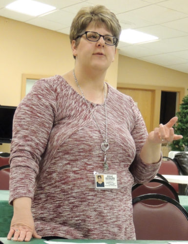 News Photo by Diane Speer During a fundraising kick-off breakfast last week, Alpena Senior Citizens Center Director Annie Hepburn talks about how many meals were served by her agency during the previous year.