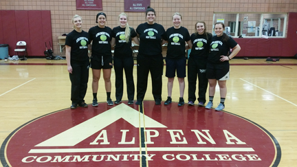 News Photo by Jonny Zawacki Members of the Alpena Community College softball team practiced one more time Friday morning before they travel to Myrtle Beach, SC for spring training. (L to R) Jacey Adams, Alexa Quaine, Monica Bartz, Kendra Cole, Mary Myers, Kelsey Huffman, Taylor Siersma. (Not Pictured) Ashley Meyers, Kayla Lenard, Jenna Hincka, Taylor Whitman, Brooke Ellis and Hannah Nostrandt.