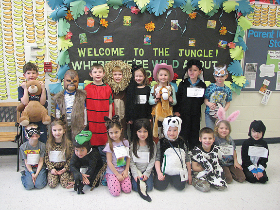 News Photo by Tyler Winowiecki Students from Nicole Kalisch's kindergarten class dressed up for Friday's Animal Word Parade at Sanborn Elementary. Students have been participating in events and themed activities throughout the month to celebrate March is Reading Month.