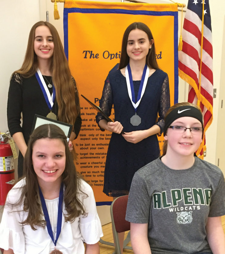 Courtesy Photo The 2017 Optimist Oratorical Contest winners include, top left, Lara King, first place; top right, Giselle King, second place; bottom left, Nicole Lucas, third place; and bottom right, Haley Sharon fourth place.