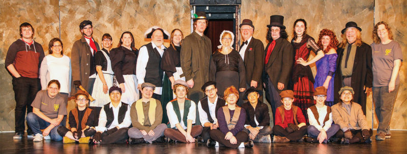 "Courtesy Photo Presenting ""Oliver!"" at the Rogers City Community Theatre are, front row left, Anne Spens (assistant director), Lexia Haske, Baylee Lijewski, Gabbe Miller, Katie Adair, Devin Allsteadt, Angelee Piechan, Bradley Heidemann, Izabelle Loughran, Nora LaLonde and Sophia Mina. Standing are Isaac Riddle (sound), Riconda Lamb (lights), James DeDecker, Rochelle Martin, Pennie Hoeft, David Miller, Sabrina Miller, Robert Starnes IV, Denise Perrault, Karl W. Heidemann, Edward Perrault, Brittany VanderWall, Lucy DeDecker, Lawrence Anderson and Donna Klein (director)."