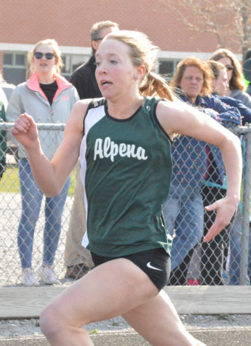 News Photo by Jonny Zawacki Alpena's Emma Jore runs in the 100 dash against athletes from Gaylord in a meet at Thunder Bay Junior High School on Wednesday. Jore finished second in the event.